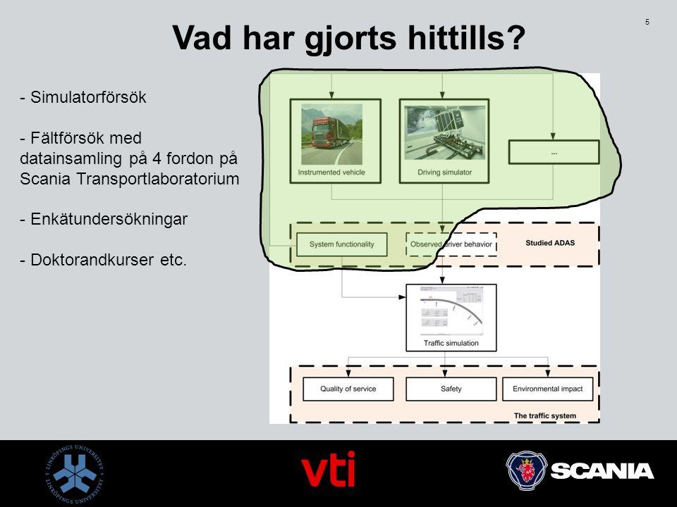 5 - Simulatorförsök - Fältförsök med datainsamling på 4 fordon på Scania Transportlaboratorium - Enkätundersökningar - Doktorandkurser etc. Vad har gj