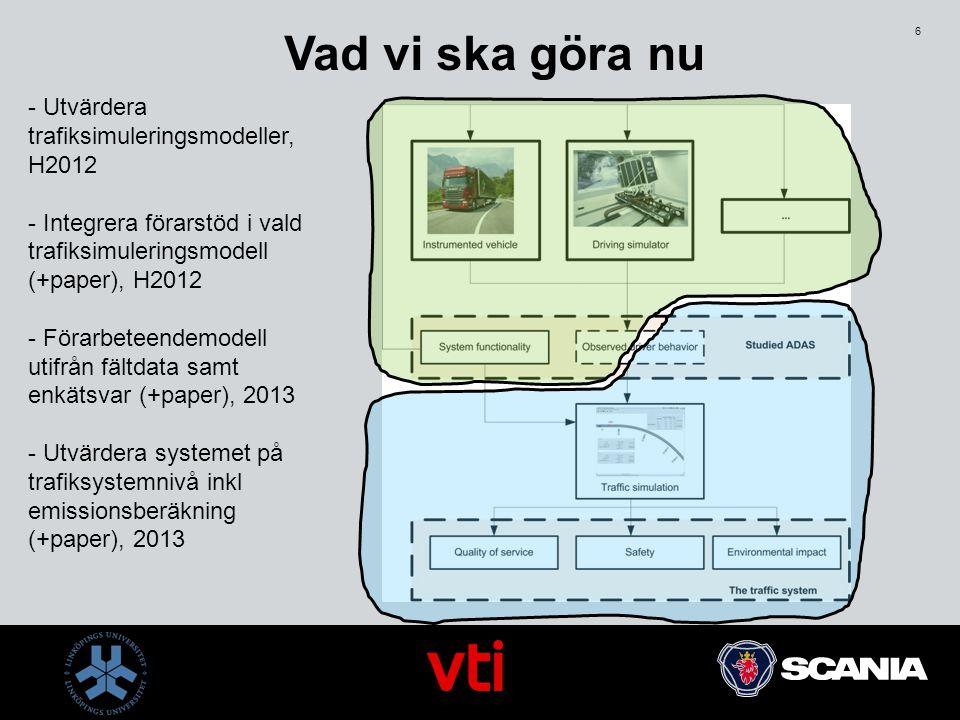 6 Vad vi ska göra nu - Utvärdera trafiksimuleringsmodeller, H2012 - Integrera förarstöd i vald trafiksimuleringsmodell (+paper), H2012 - Förarbeteende