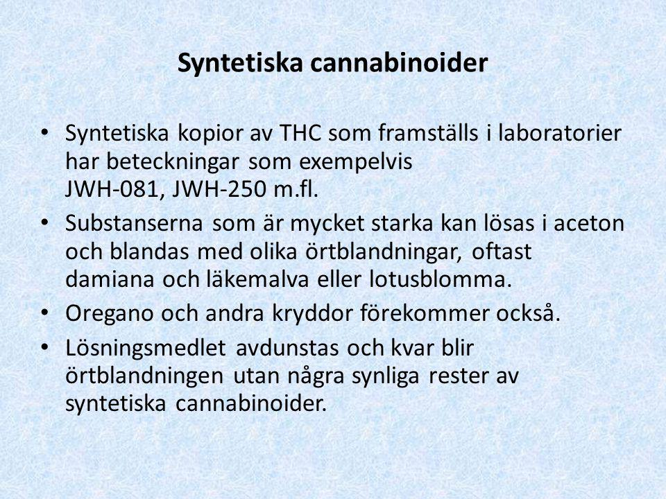 Syntetiska cannabinoider Syntetiska kopior av THC som framställs i laboratorier har beteckningar som exempelvis JWH-081, JWH-250 m.fl.