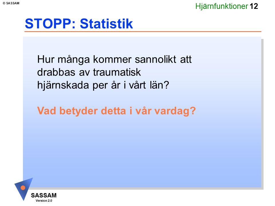 Hjärnfunktioner 12 SASSAM Version 2.0 © SASSAM STOPP: Statistik Hur många kommer sannolikt att drabbas av traumatisk hjärnskada per år i vårt län? Vad