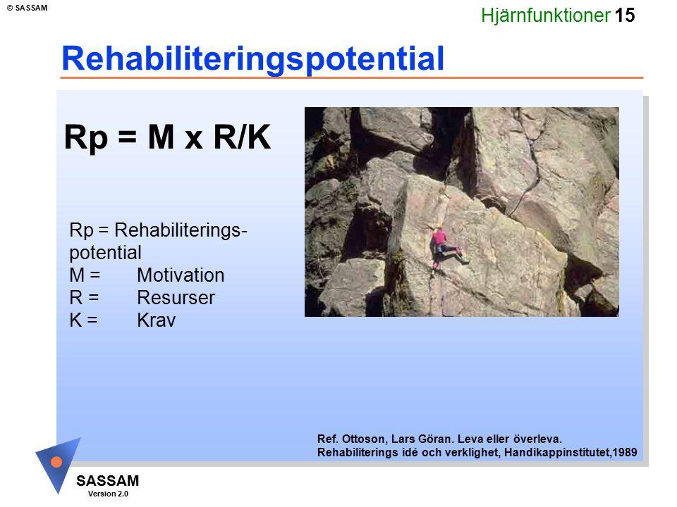 Hjärnfunktioner 15 SASSAM Version 2.0 © SASSAM Rehabiliteringspotential Rp = Rehabiliterings- potential M =Motivation R = Resurser K = Krav Ref. Ottos