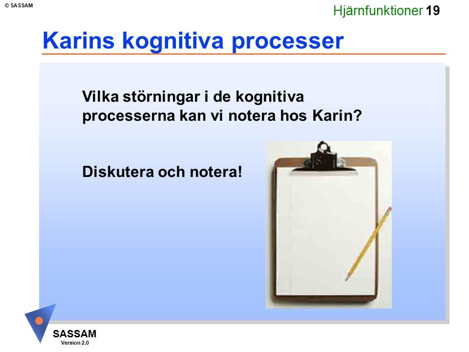 Hjärnfunktioner 19 SASSAM Version 2.0 © SASSAM Karins kognitiva processer Vilka störningar i de kognitiva processerna kan vi notera hos Karin? Diskute
