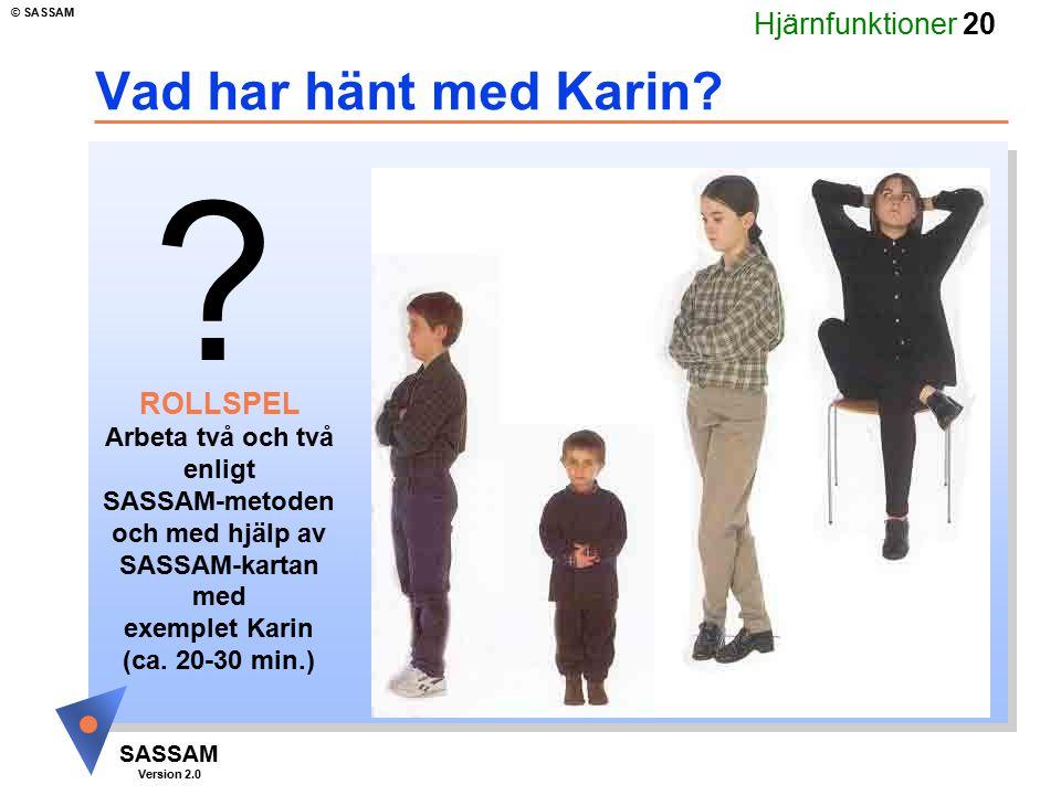 Hjärnfunktioner 20 SASSAM Version 2.0 © SASSAM ? ROLLSPEL Arbeta två och två enligt SASSAM-metoden och med hjälp av SASSAM-kartan med exemplet Karin (