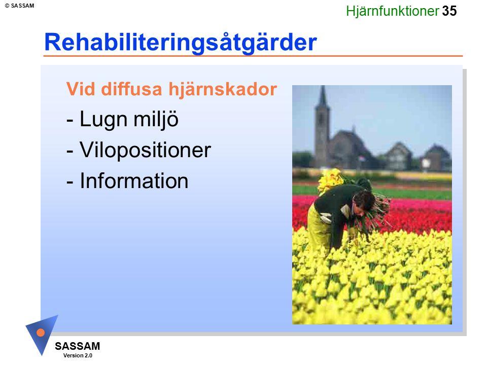 Hjärnfunktioner 35 SASSAM Version 2.0 © SASSAM Rehabiliteringsåtgärder Vid diffusa hjärnskador - Lugn miljö - Vilopositioner - Information