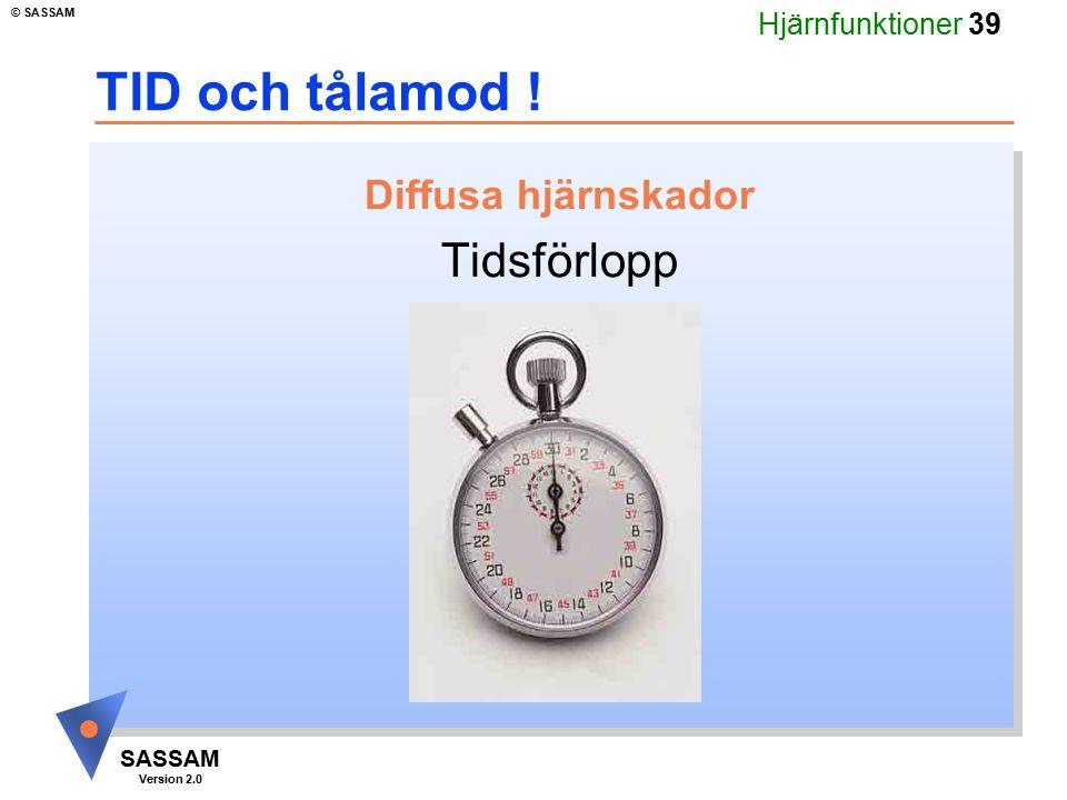 Hjärnfunktioner 39 SASSAM Version 2.0 © SASSAM TID och tålamod ! Diffusa hjärnskador Tidsförlopp
