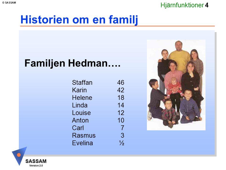 Hjärnfunktioner 4 SASSAM Version 2.0 © SASSAM Historien om en familj Familjen Hedman…. Staffan 46 Karin42 Helene18 Linda14 Louise12 Anton10 Carl 7 Ras