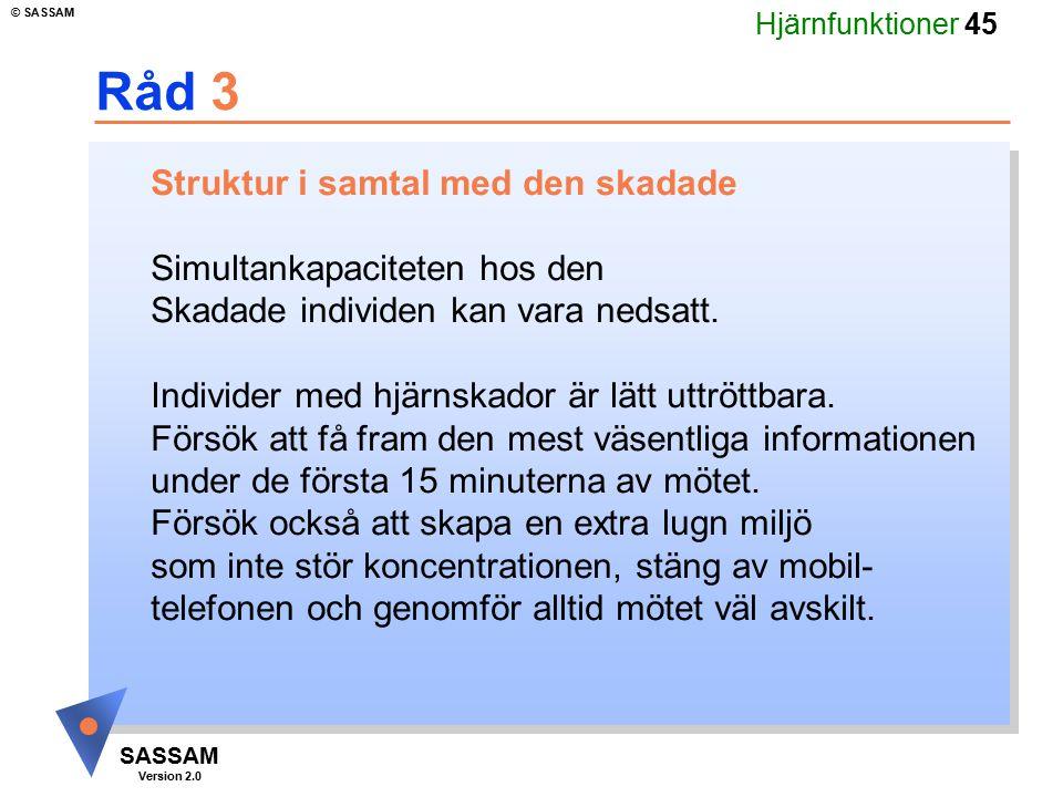 Hjärnfunktioner 45 SASSAM Version 2.0 © SASSAM Råd 3 Struktur i samtal med den skadade Simultankapaciteten hos den Skadade individen kan vara nedsatt.