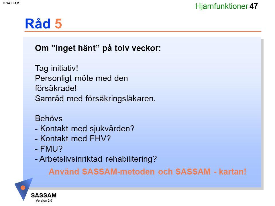 """Hjärnfunktioner 47 SASSAM Version 2.0 © SASSAM Råd 5 Om """"inget hänt"""" på tolv veckor: Tag initiativ! Personligt möte med den försäkrade! Samråd med för"""