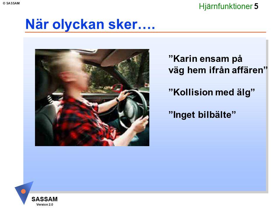"""Hjärnfunktioner 5 SASSAM Version 2.0 © SASSAM När olyckan sker…. """"Karin ensam på väg hem ifrån affären"""" """"Kollision med älg"""" """"Inget bilbälte"""""""