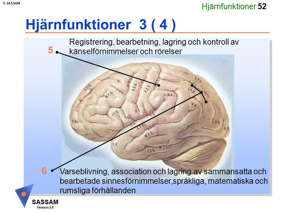 Hjärnfunktioner 52 SASSAM Version 2.0 © SASSAM Hjärnfunktioner 3 ( 4 ) Registrering, bearbetning, lagring och kontroll av känselförnimmelser och rörel