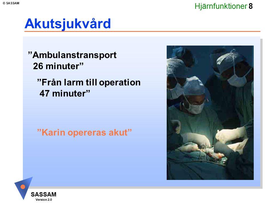 """Hjärnfunktioner 8 SASSAM Version 2.0 © SASSAM Akutsjukvård """"Karin opereras akut"""" """"Ambulanstransport 26 minuter"""" """"Från larm till operation 47 minuter"""""""
