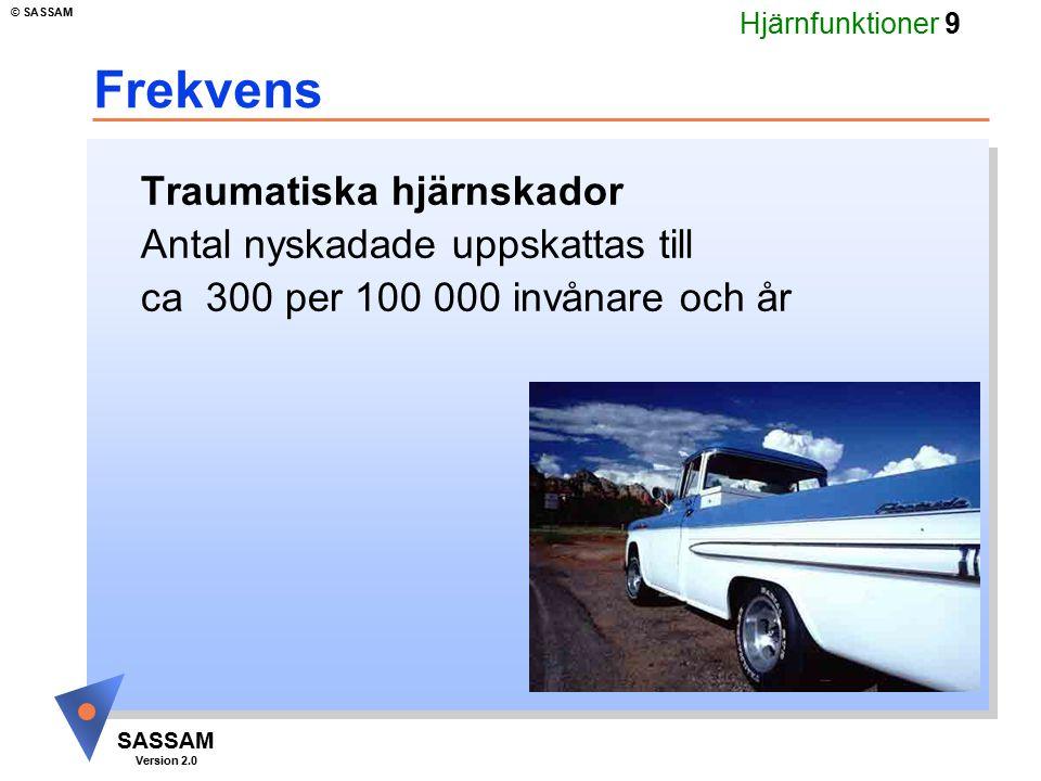 Hjärnfunktioner 10 SASSAM Version 2.0 © SASSAM Uppkomstmekanismer u Fall 59% u Trafik 20% u Övriga 21%