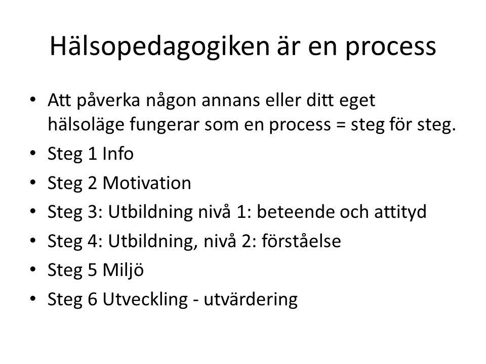 Hälsopedagogiken är en process Att påverka någon annans eller ditt eget hälsoläge fungerar som en process = steg för steg.