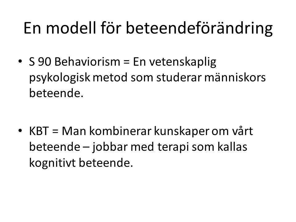 En modell för beteendeförändring S 90 Behaviorism = En vetenskaplig psykologisk metod som studerar människors beteende.