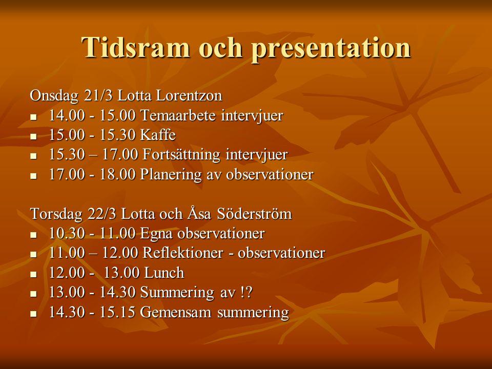 Tidsram och presentation Onsdag 21/3 Lotta Lorentzon 14.00 - 15.00 Temaarbete intervjuer 14.00 - 15.00 Temaarbete intervjuer 15.00 - 15.30 Kaffe 15.00 - 15.30 Kaffe 15.30 – 17.00 Fortsättning intervjuer 15.30 – 17.00 Fortsättning intervjuer 17.00 - 18.00 Planering av observationer 17.00 - 18.00 Planering av observationer Torsdag 22/3 Lotta och Åsa Söderström 10.30 - 11.00 Egna observationer 10.30 - 11.00 Egna observationer 11.00 – 12.00 Reflektioner - observationer 11.00 – 12.00 Reflektioner - observationer 12.00 - 13.00 Lunch 12.00 - 13.00 Lunch 13.00 - 14.30 Summering av !.