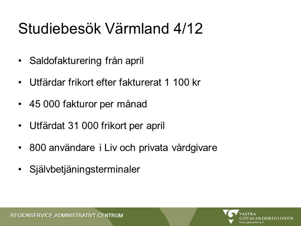 REGIONSERVICE, ADMINISTRATIVT CENTRUM Studiebesök Värmland 4/12 Saldofakturering från april Utfärdar frikort efter fakturerat 1 100 kr 45 000 fakturor