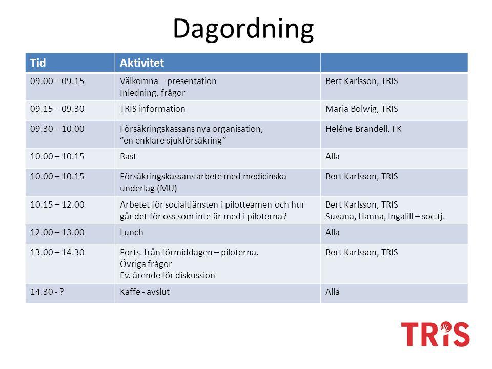 Dagordning TidAktivitet 09.00 – 09.15Välkomna – presentation Inledning, frågor Bert Karlsson, TRIS 09.15 – 09.30TRIS informationMaria Bolwig, TRIS 09.