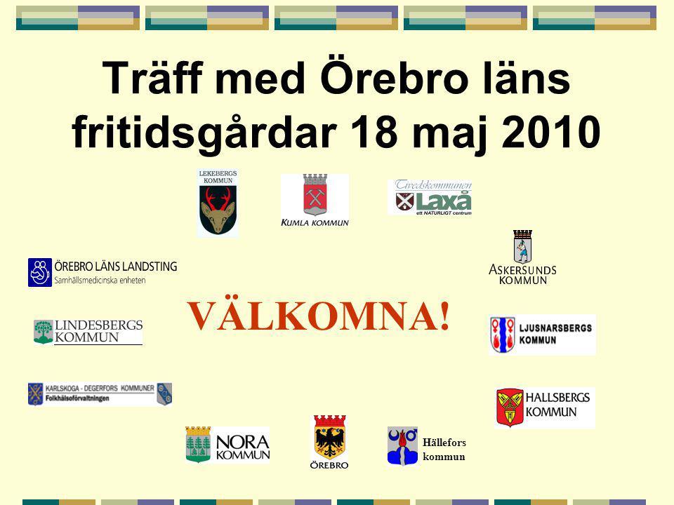Träff med Örebro läns fritidsgårdar 18 maj 2010 Hällefors kommun VÄLKOMNA!