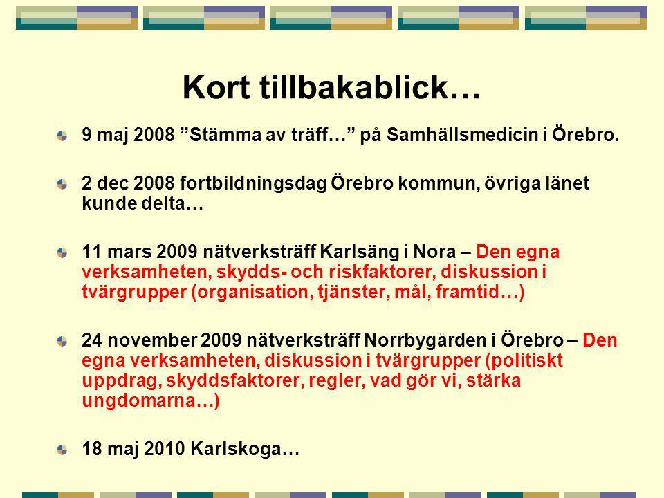 """Kort tillbakablick… 9 maj 2008 """"Stämma av träff…"""" på Samhällsmedicin i Örebro. 2 dec 2008 fortbildningsdag Örebro kommun, övriga länet kunde delta… 11"""