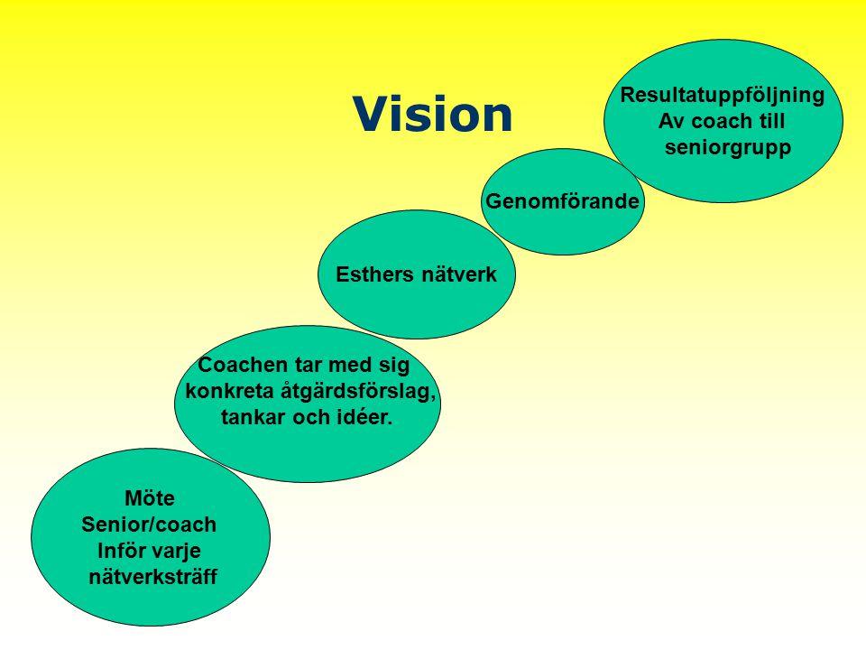 Vision Möte Senior/coach Inför varje nätverksträff Coachen tar med sig konkreta åtgärdsförslag, tankar och idéer. Esthers nätverk Resultatuppföljning