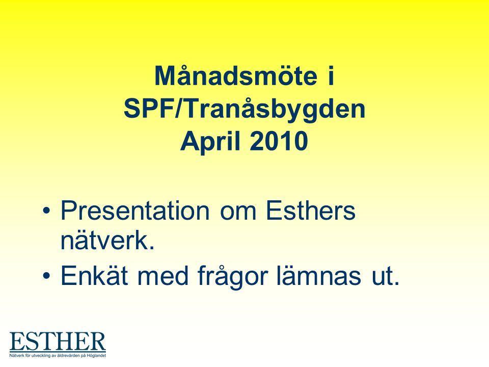 Månadsmöte i SPF/Tranåsbygden April 2010 Presentation om Esthers nätverk. Enkät med frågor lämnas ut.
