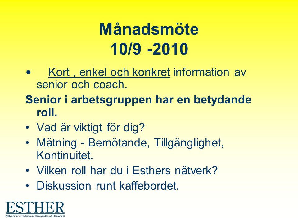 Månadsmöte 10/9 -2010 Kort, enkel och konkret information av senior och coach. Senior i arbetsgruppen har en betydande roll. Vad är viktigt för dig? M