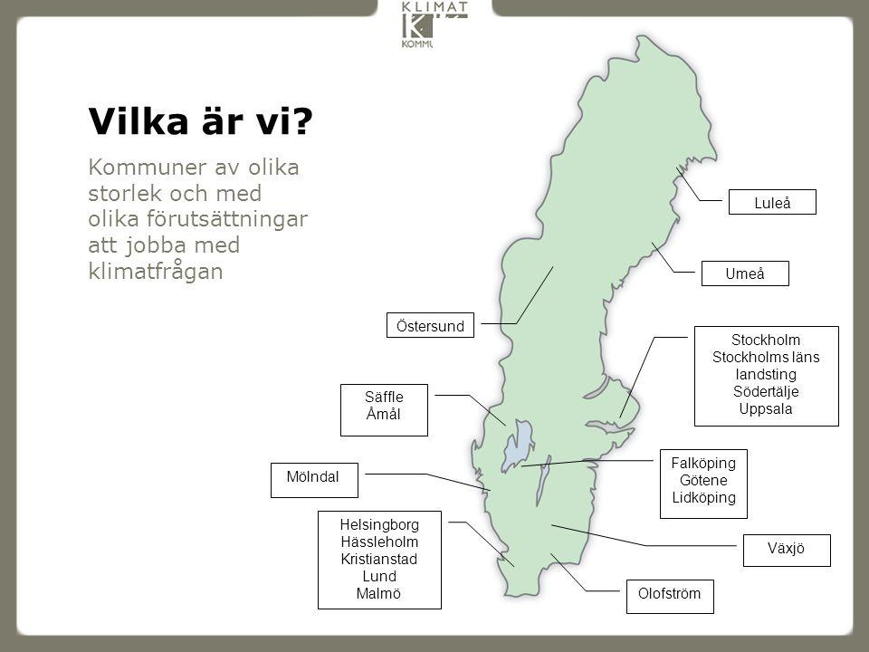 Kommuner av olika storlek och med olika förutsättningar att jobba med klimatfrågan Vilka är vi? Helsingborg Hässleholm Kristianstad Lund Malmö Olofstr