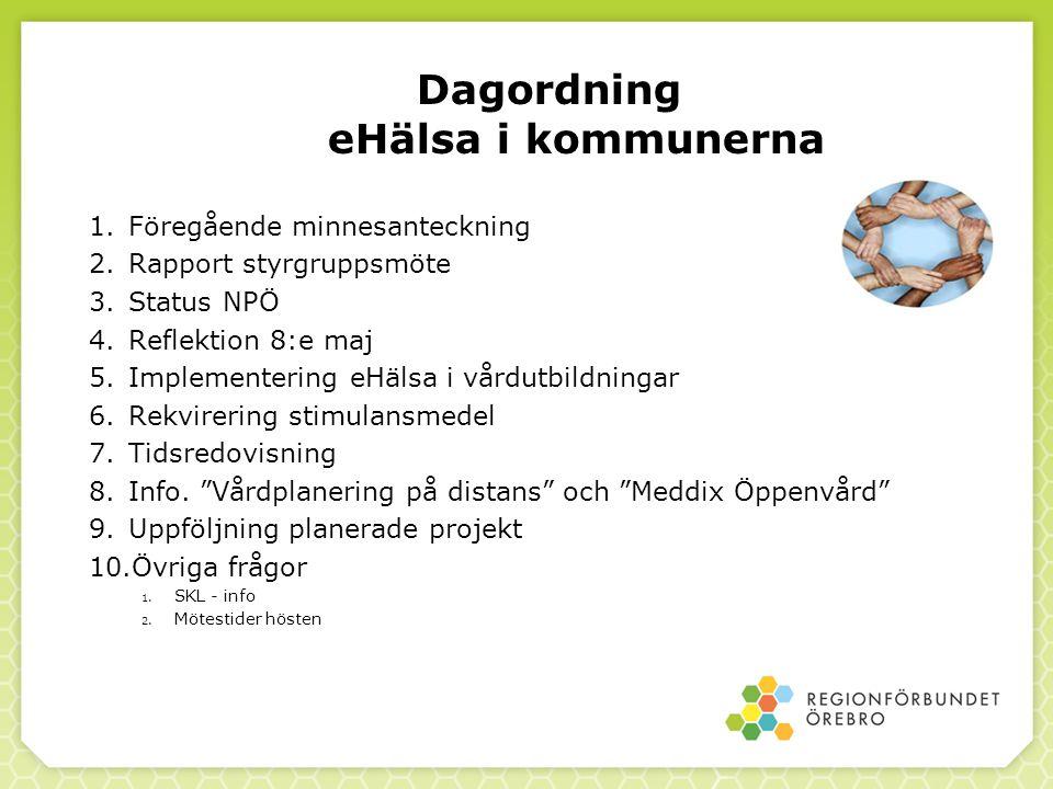 Dagordning eHälsa i kommunerna 1.Föregående minnesanteckning 2.Rapport styrgruppsmöte 3.Status NPÖ 4.Reflektion 8:e maj 5.Implementering eHälsa i vårdutbildningar 6.Rekvirering stimulansmedel 7.Tidsredovisning 8.Info.