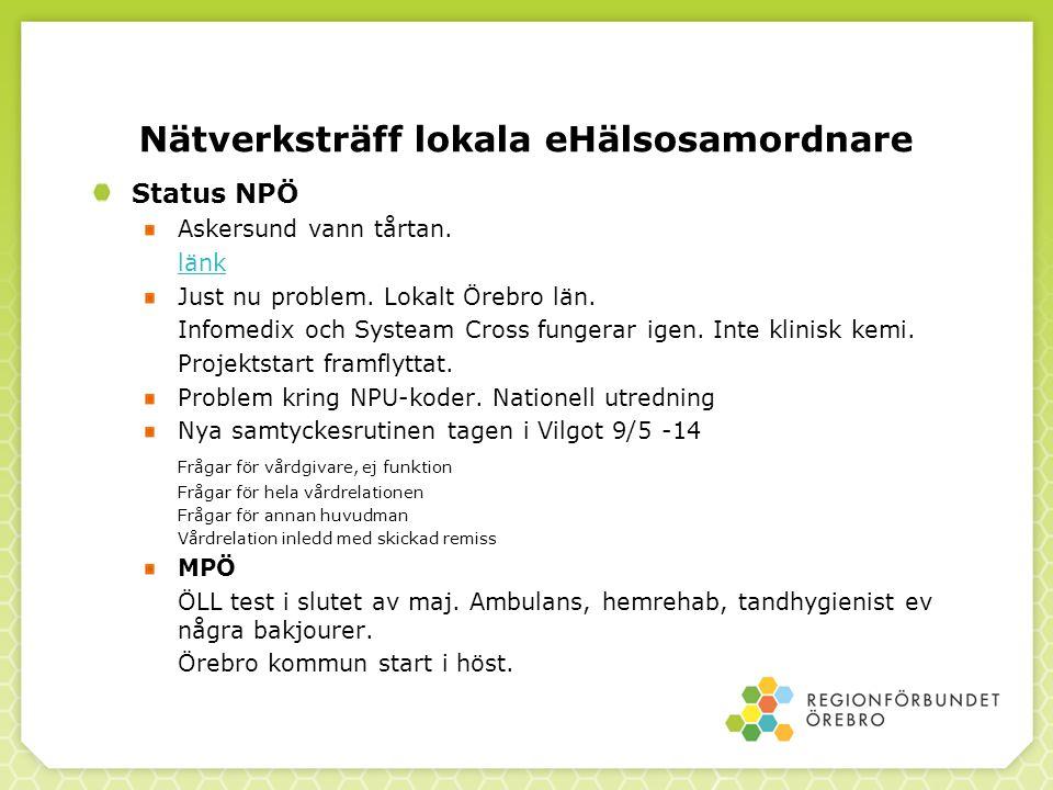 Nätverksträff lokala eHälsosamordnare Status NPÖ Askersund vann tårtan.