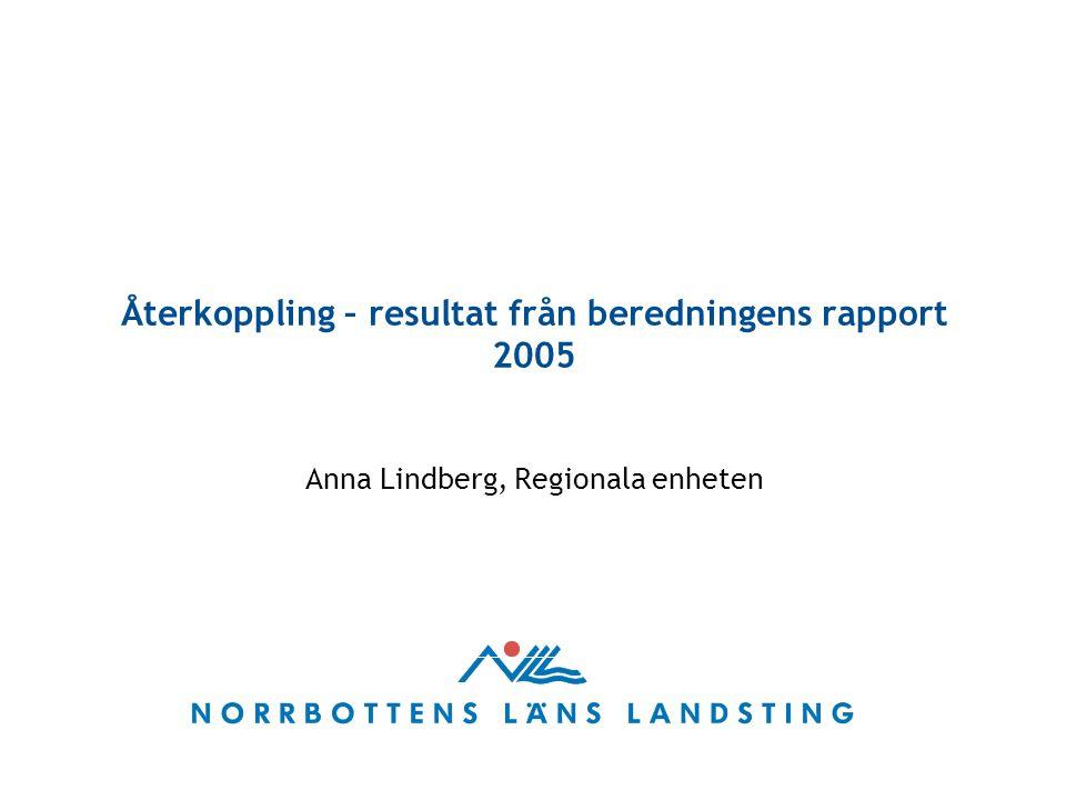Återkoppling – resultat från beredningens rapport 2005 Anna Lindberg, Regionala enheten