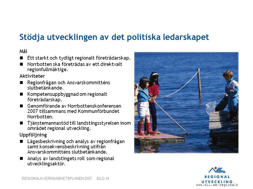 www.nll.se/regionalt REGIONALA VERKSAMHETSPLANEN 2007 BILD 14 Stödja utvecklingen av det politiska ledarskapet Mål Ett starkt och tydligt regionalt fö