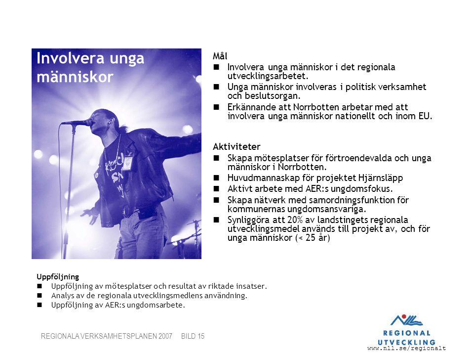 www.nll.se/regionalt REGIONALA VERKSAMHETSPLANEN 2007 BILD 15 Involvera unga människor Uppföljning Uppföljning av mötesplatser och resultat av riktade