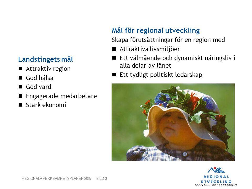 www.nll.se/regionalt REGIONALA VERKSAMHETSPLANEN 2007 BILD 3 Landstingets mål Attraktiv region God hälsa God vård Engagerade medarbetare Stark ekonomi