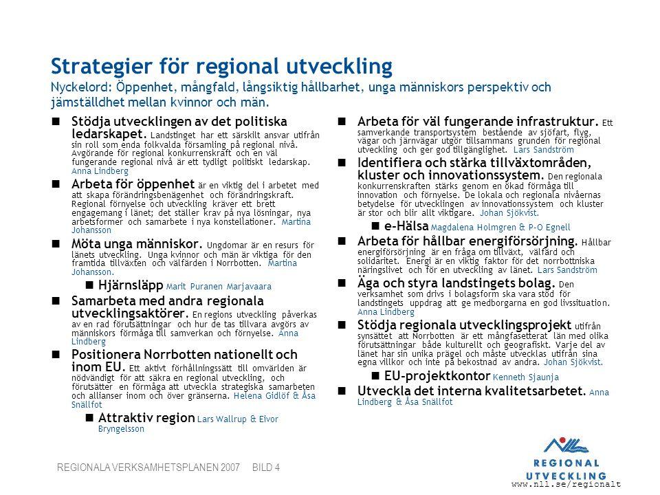 www.nll.se/regionalt REGIONALA VERKSAMHETSPLANEN 2007 BILD 4 Strategier för regional utveckling Nyckelord: Öppenhet, mångfald, långsiktig hållbarhet,