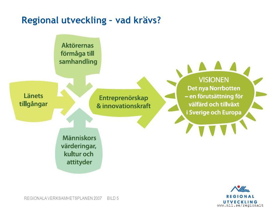 www.nll.se/regionalt REGIONALA VERKSAMHETSPLANEN 2007 BILD 5 Regional utveckling – vad krävs?