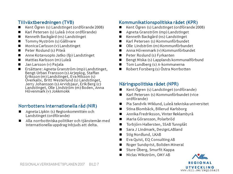 www.nll.se/regionalt REGIONALA VERKSAMHETSPLANEN 2007 BILD 7 Tillväxtberedningen (TVB) Kent Ögren (s) Landstinget (ordförande 2008) Karl Petersen (s)