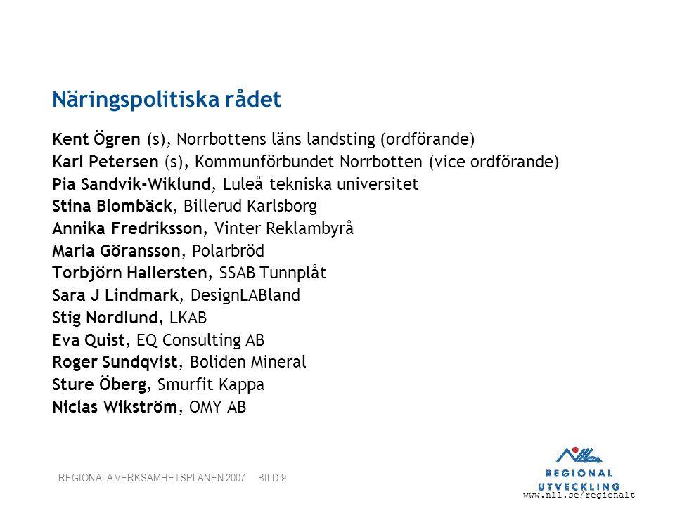 www.nll.se/regionalt REGIONALA VERKSAMHETSPLANEN 2007 BILD 9 Näringspolitiska rådet Kent Ögren (s), Norrbottens läns landsting (ordförande) Karl Peter