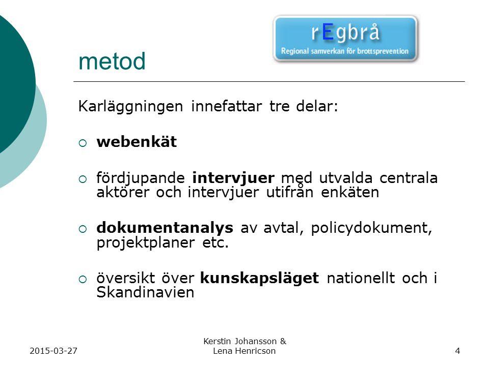 2015-03-27 Kerstin Johansson & Lena Henricson4 metod Karläggningen innefattar tre delar:  webenkät  fördjupande intervjuer med utvalda centrala aktörer och intervjuer utifrån enkäten  dokumentanalys av avtal, policydokument, projektplaner etc.