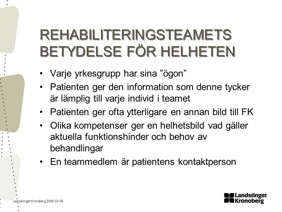 """Landstinget Kronoberg 2009-03-16 REHABILITERINGSTEAMETS BETYDELSE FÖR HELHETEN Varje yrkesgrupp har sina """"ögon"""" Patienten ger den information som denn"""