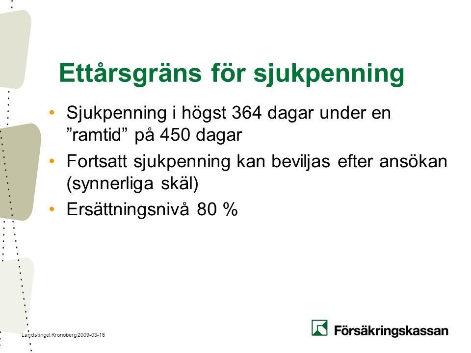 """Landstinget Kronoberg 2009-03-16 Ettårsgräns för sjukpenning Sjukpenning i högst 364 dagar under en """"ramtid"""" på 450 dagar Fortsatt sjukpenning kan bev"""