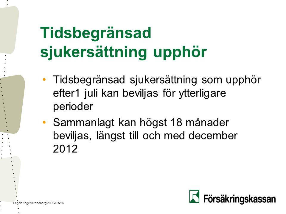 Landstinget Kronoberg 2009-03-16 Tidsbegränsad sjukersättning upphör Tidsbegränsad sjukersättning som upphör efter1 juli kan beviljas för ytterligare