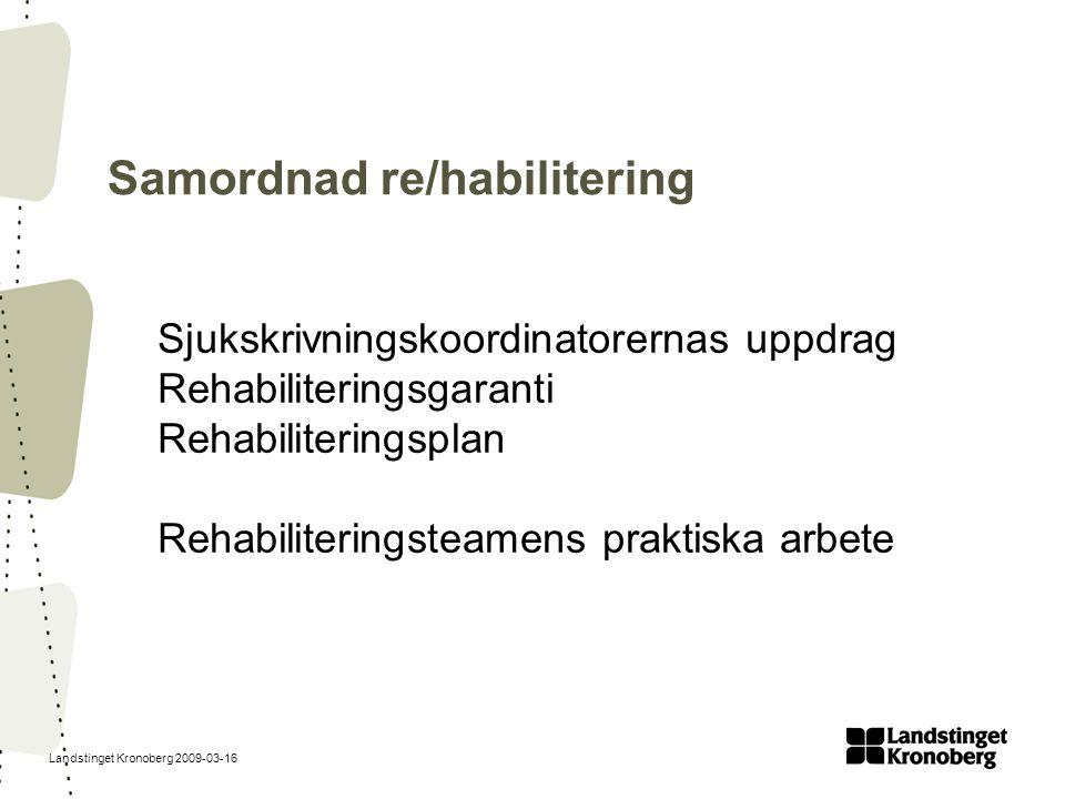Landstinget Kronoberg 2009-03-16 Samordnad re/habilitering Sjukskrivningskoordinatorernas uppdrag Rehabiliteringsgaranti Rehabiliteringsplan Rehabilit