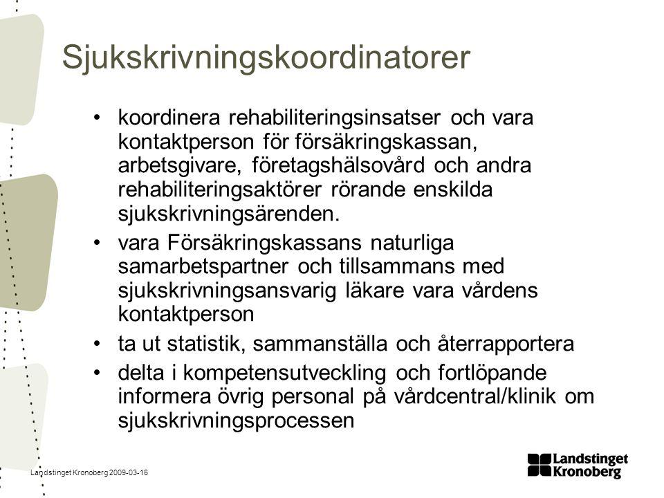 Landstinget Kronoberg 2009-03-16 Sjukskrivningskoordinatorer koordinera rehabiliteringsinsatser och vara kontaktperson för försäkringskassan, arbetsgi