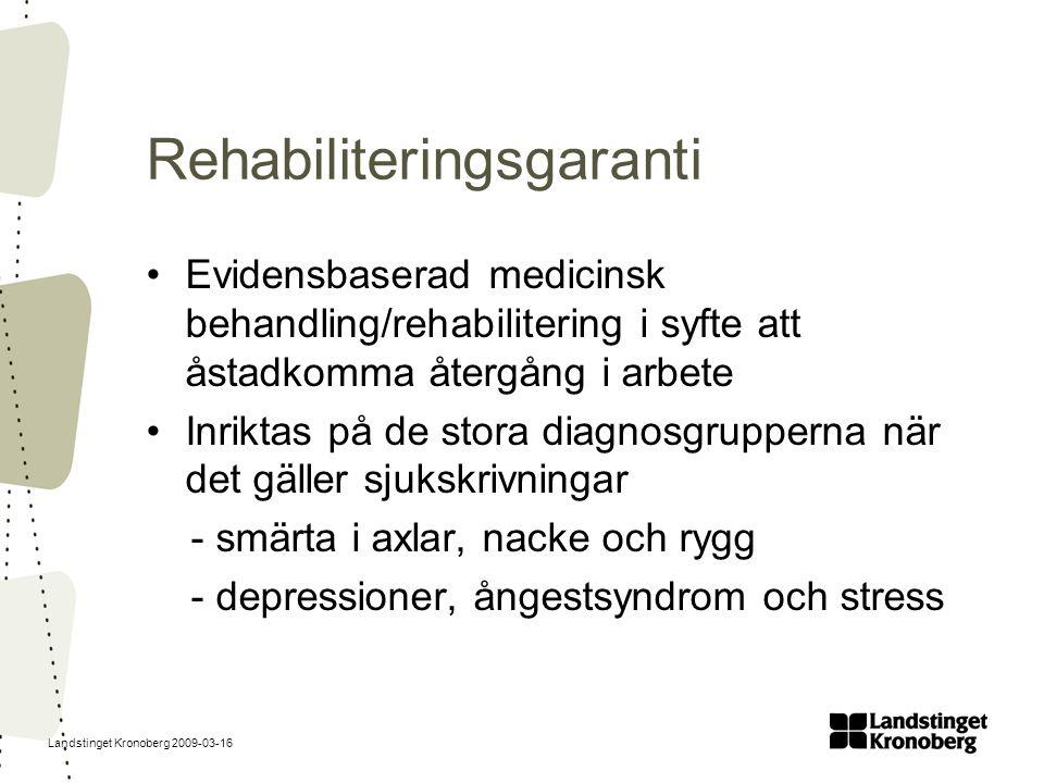 Landstinget Kronoberg 2009-03-16 Rehabiliteringsgaranti Evidensbaserad medicinsk behandling/rehabilitering i syfte att åstadkomma återgång i arbete In