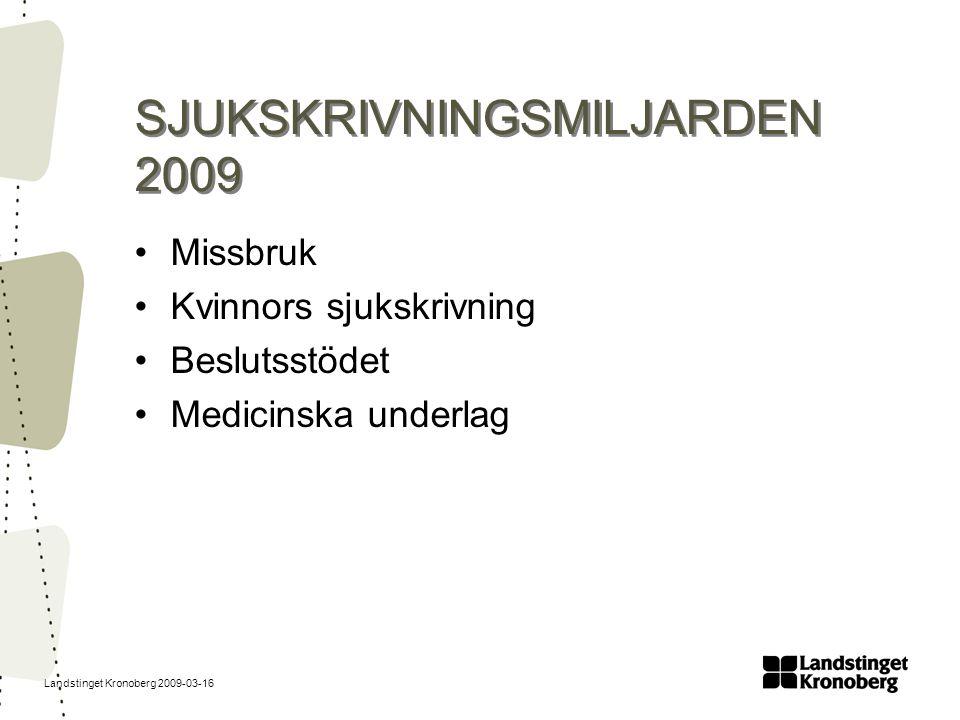 Landstinget Kronoberg 2009-03-16 Ettårsgräns för sjukpenning Sjukpenning i högst 364 dagar under en ramtid på 450 dagar Fortsatt sjukpenning kan beviljas efter ansökan (synnerliga skäl) Ersättningsnivå 80 %