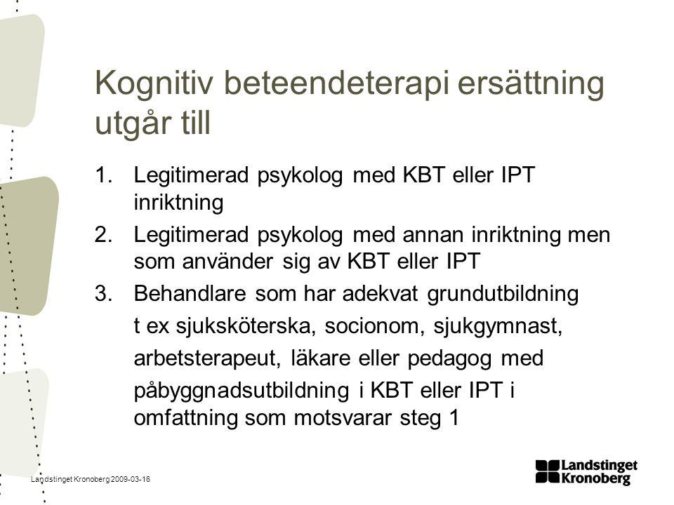 Landstinget Kronoberg 2009-03-16 Kognitiv beteendeterapi ersättning utgår till 1.Legitimerad psykolog med KBT eller IPT inriktning 2.Legitimerad psyko