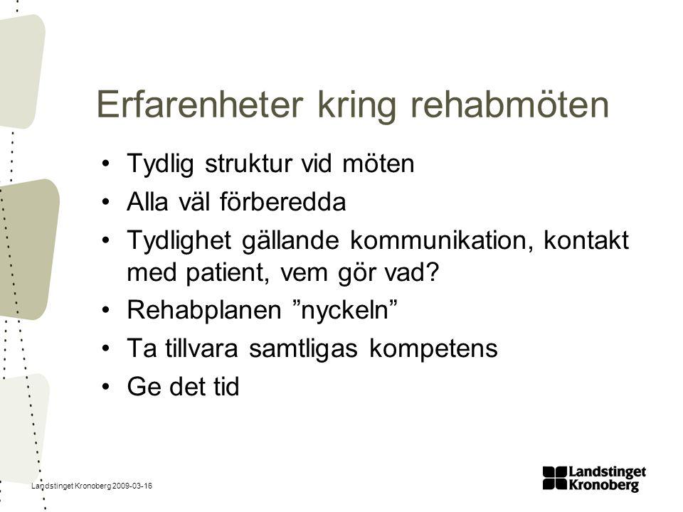 Landstinget Kronoberg 2009-03-16 Erfarenheter kring rehabmöten Tydlig struktur vid möten Alla väl förberedda Tydlighet gällande kommunikation, kontakt