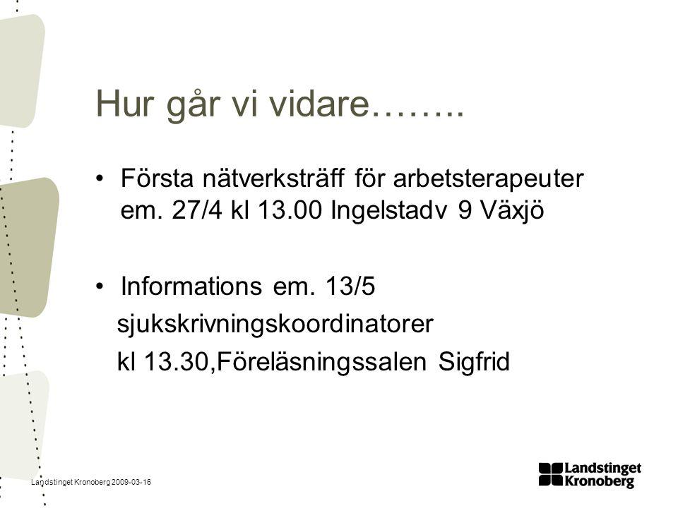Landstinget Kronoberg 2009-03-16 Hur går vi vidare…….. Första nätverksträff för arbetsterapeuter em. 27/4 kl 13.00 Ingelstadv 9 Växjö Informations em.
