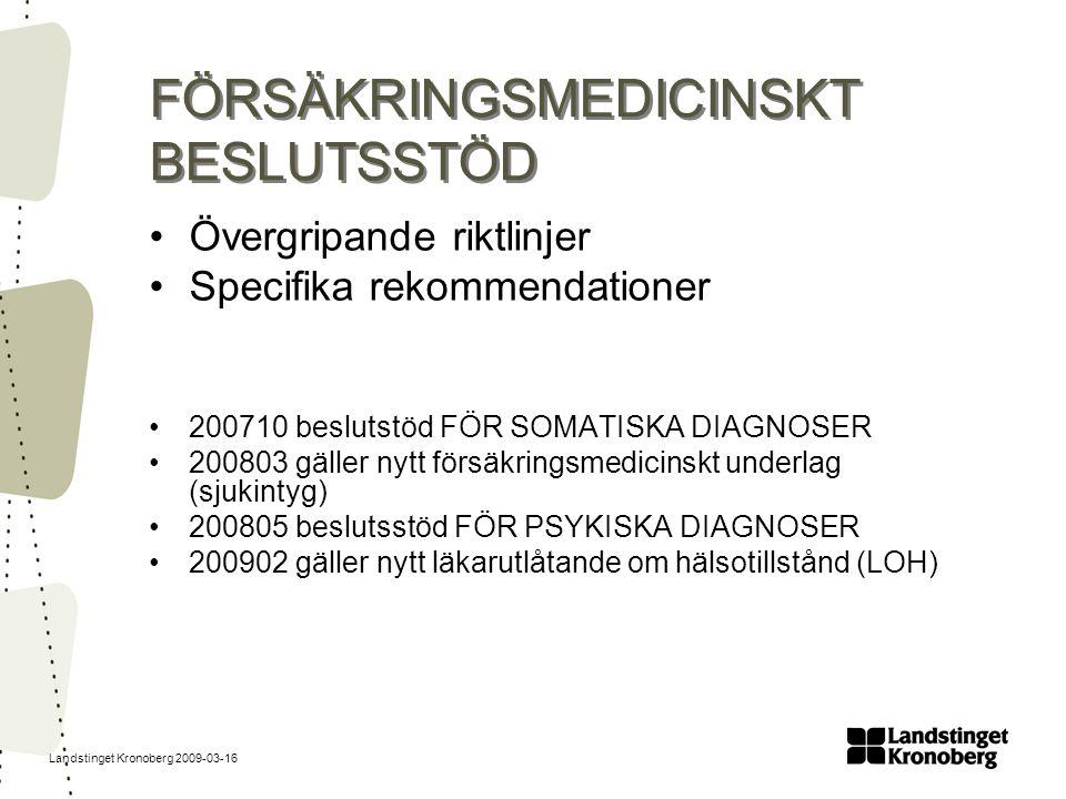 Landstinget Kronoberg 2009-03-16 FÖRSÄKRINGSMEDICINSKT BESLUTSSTÖD Övergripande riktlinjer Specifika rekommendationer 200710 beslutstöd FÖR SOMATISKA