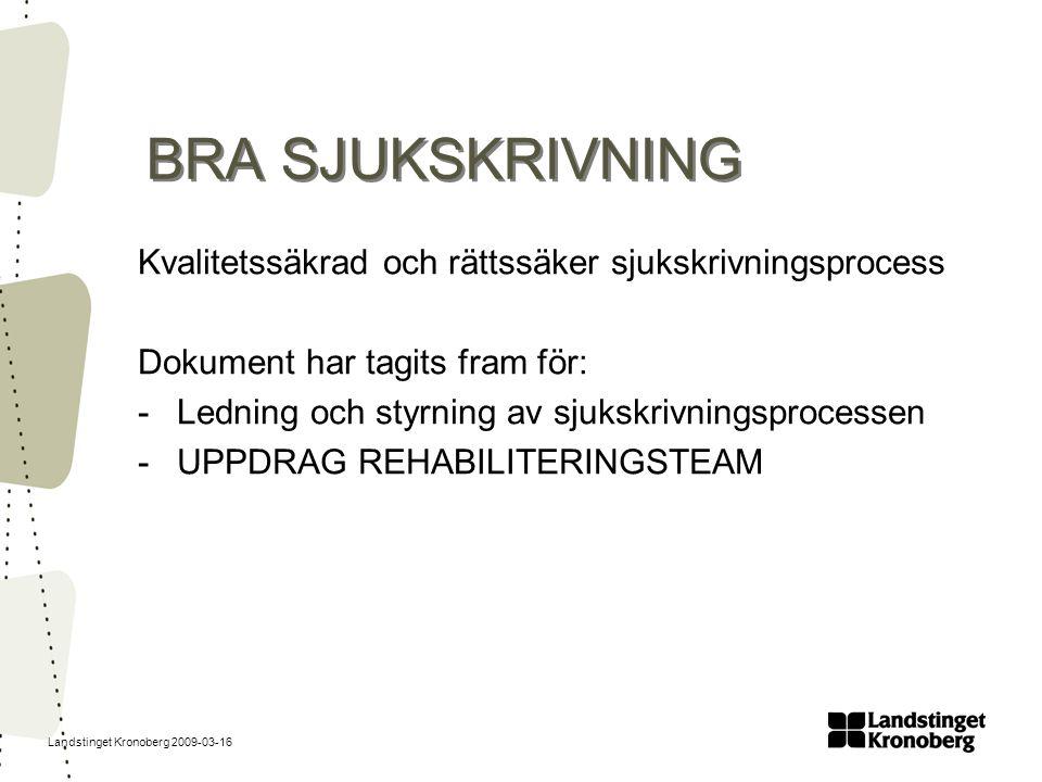 Landstinget Kronoberg 2009-03-16 BRA SJUKSKRIVNING Kvalitetssäkrad och rättssäker sjukskrivningsprocess Dokument har tagits fram för: -Ledning och sty